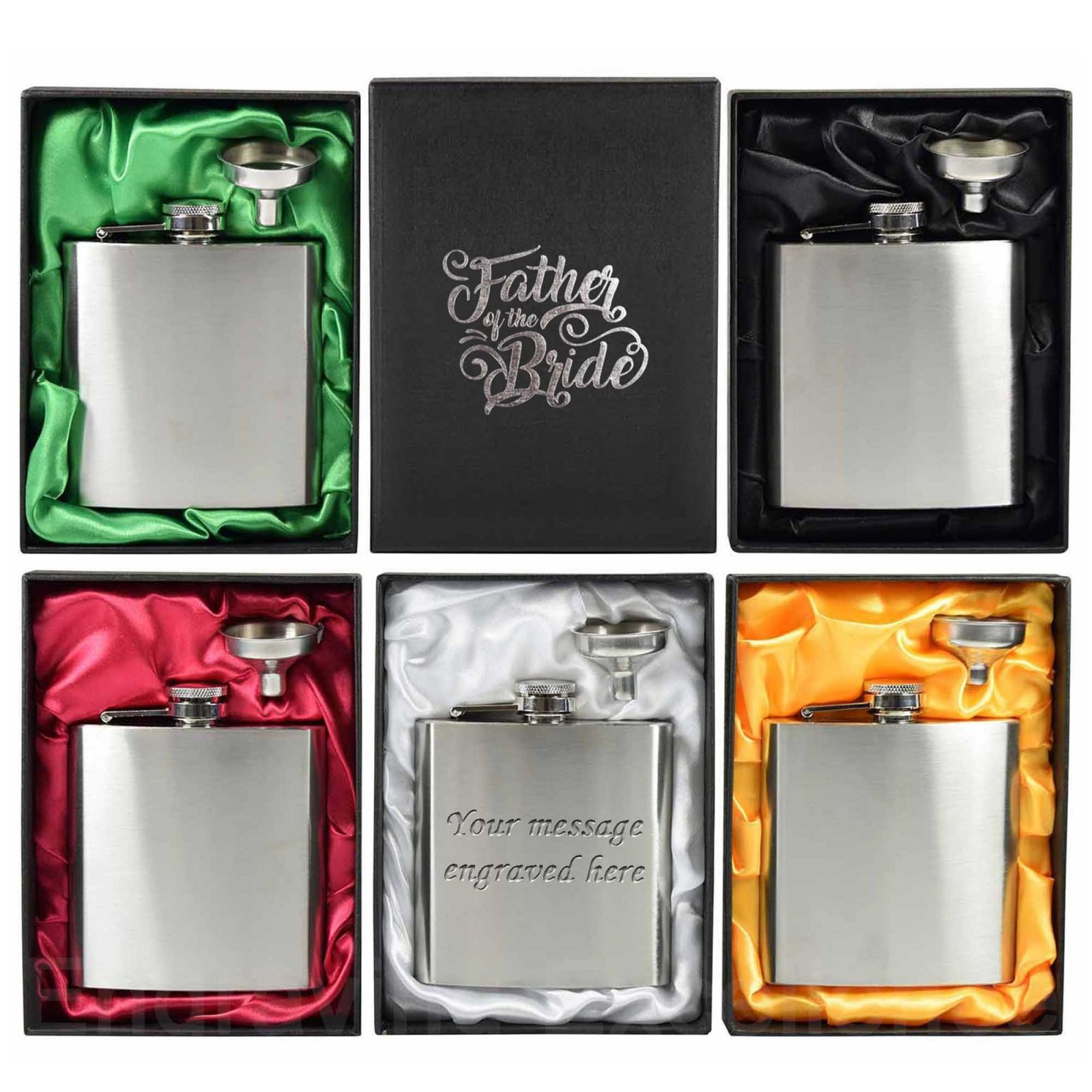 6oz Hip Flask with funnel and Gift Box - Hot Foil printed lids for wedding party