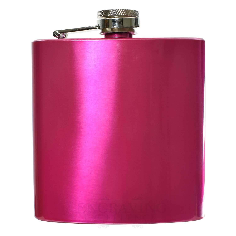 Engraved 6oz Pink Coloured  Hip Flask