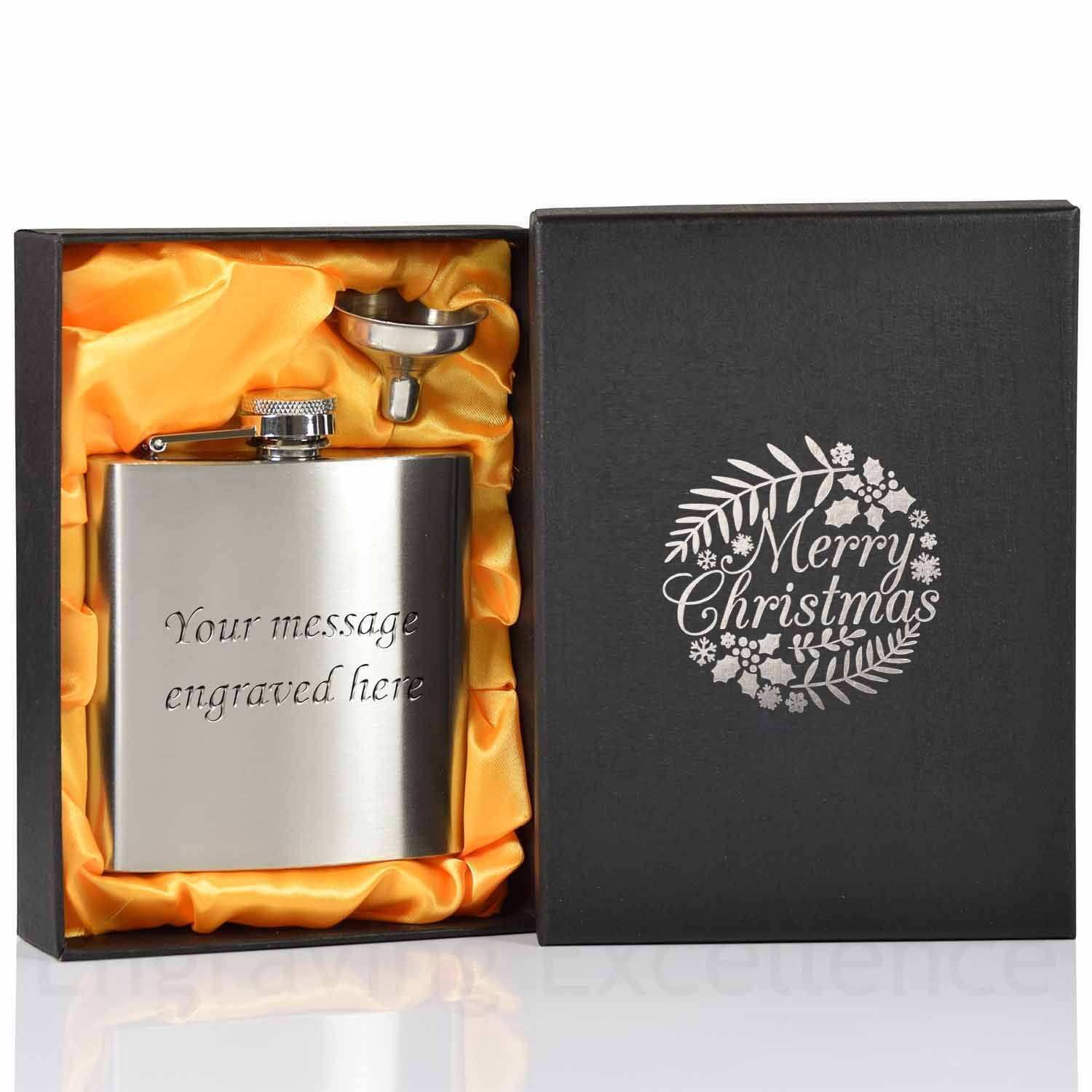 6oz Hip Flask with funnel and Gift Box - Merry Christmas printed lid - Silver