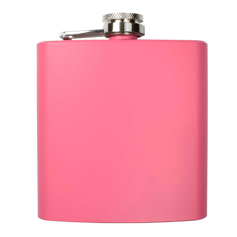 Pink 6oz Hip Flask Silver Gift Box