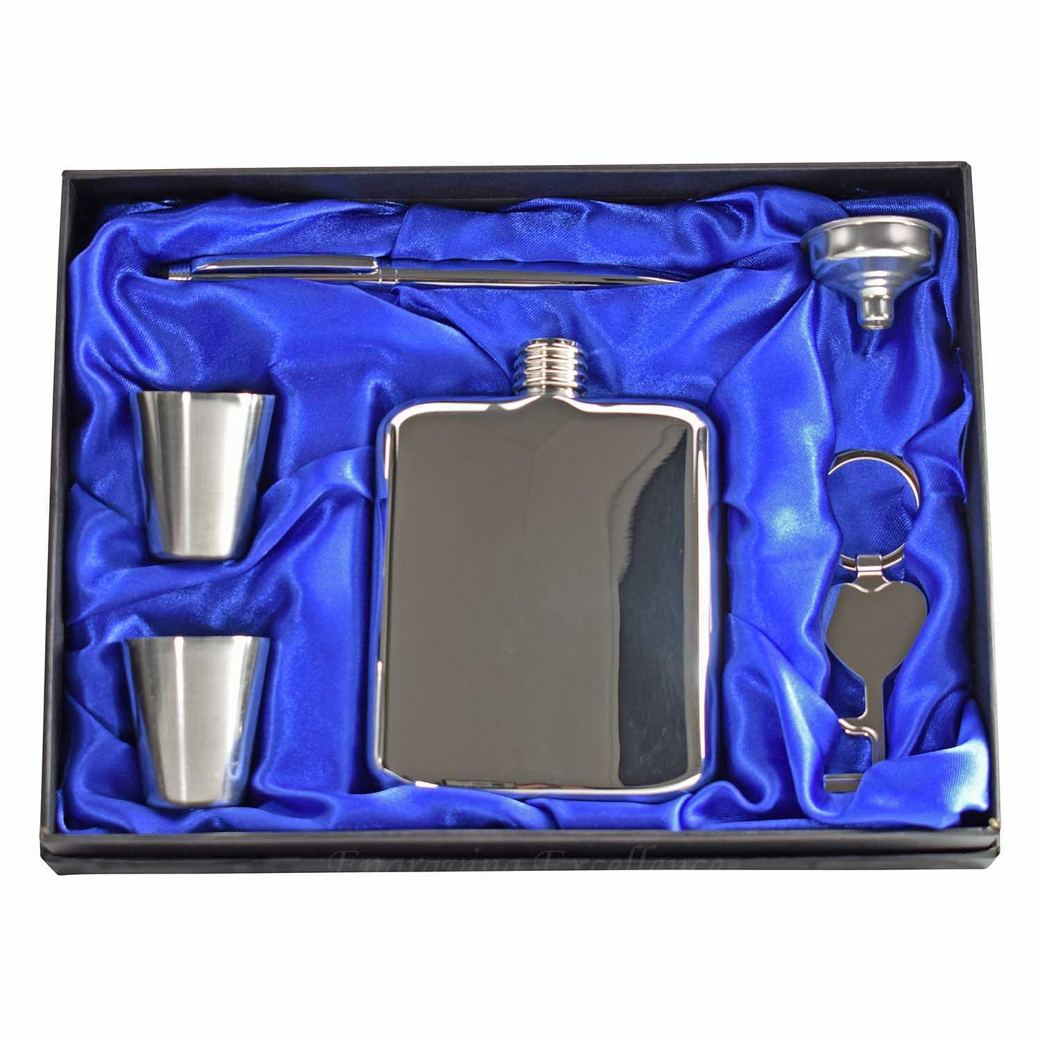 mirror finish 6oz hip flask gift set