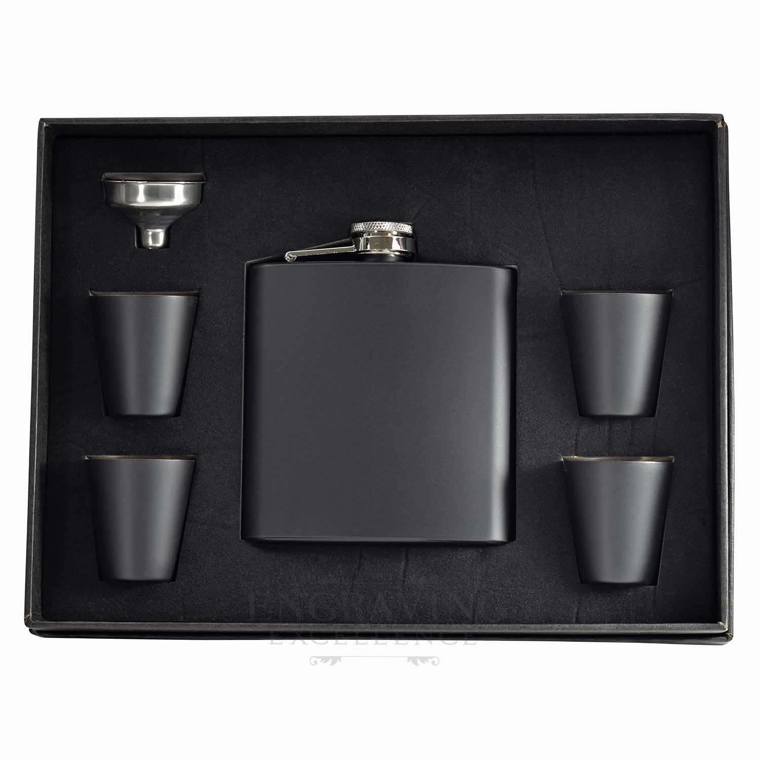 Black Stainless Steel 6oz Hip Flask with Funnel and 4 Cups in a Presentation Box