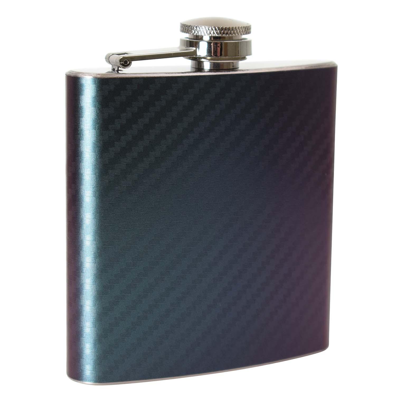 6oz  Two Tone Purple/Green Carbon Hip Flask