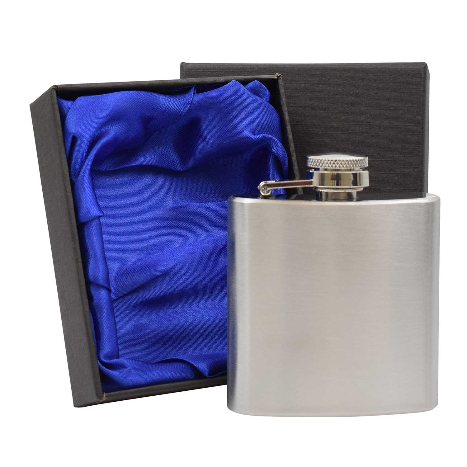 3oz Hip Flask in Blue Lined Presentation Box