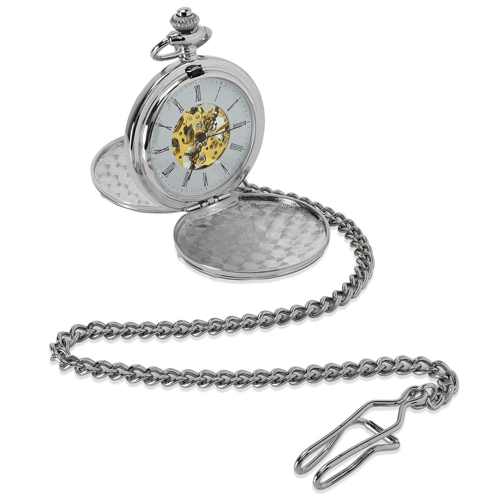 Silver Mechanical Roman Pocket Watch