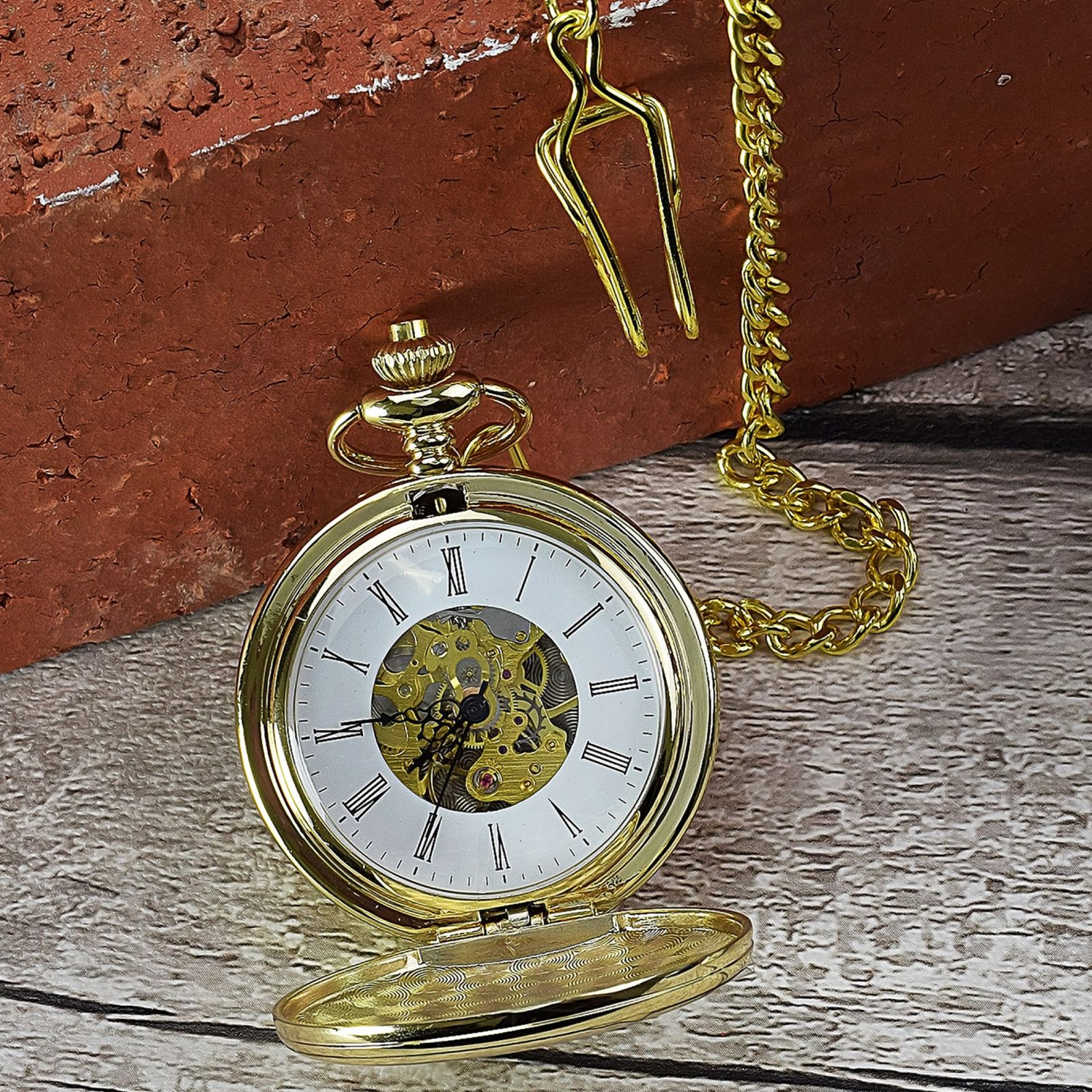 Gold Mechanical Roman Pocket Watch