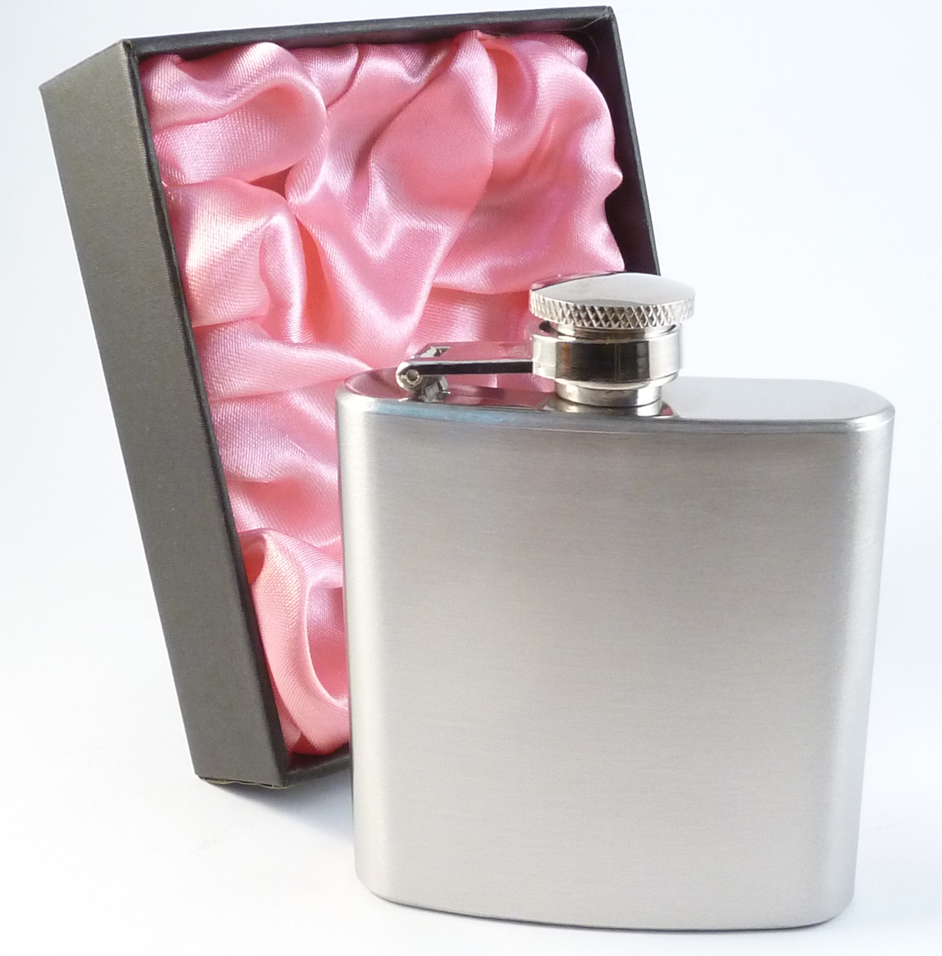 3oz Hip Flask in Pink Lined Presentation Box