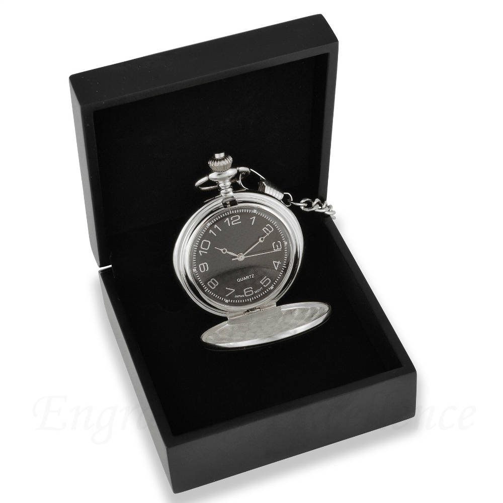 Silver Pocket Watch with Carbon Fibre face