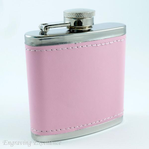 Pink Leather Style Hip Flask