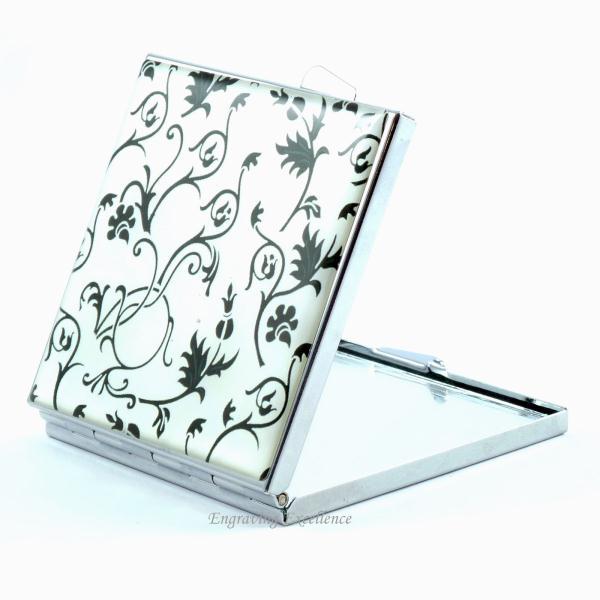 Black Floral Design Compact Mirror