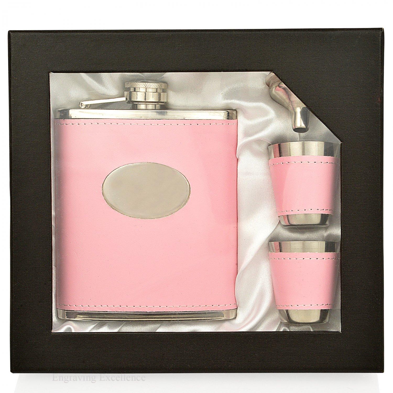 7 oz Pink Hip Flask Gift Set
