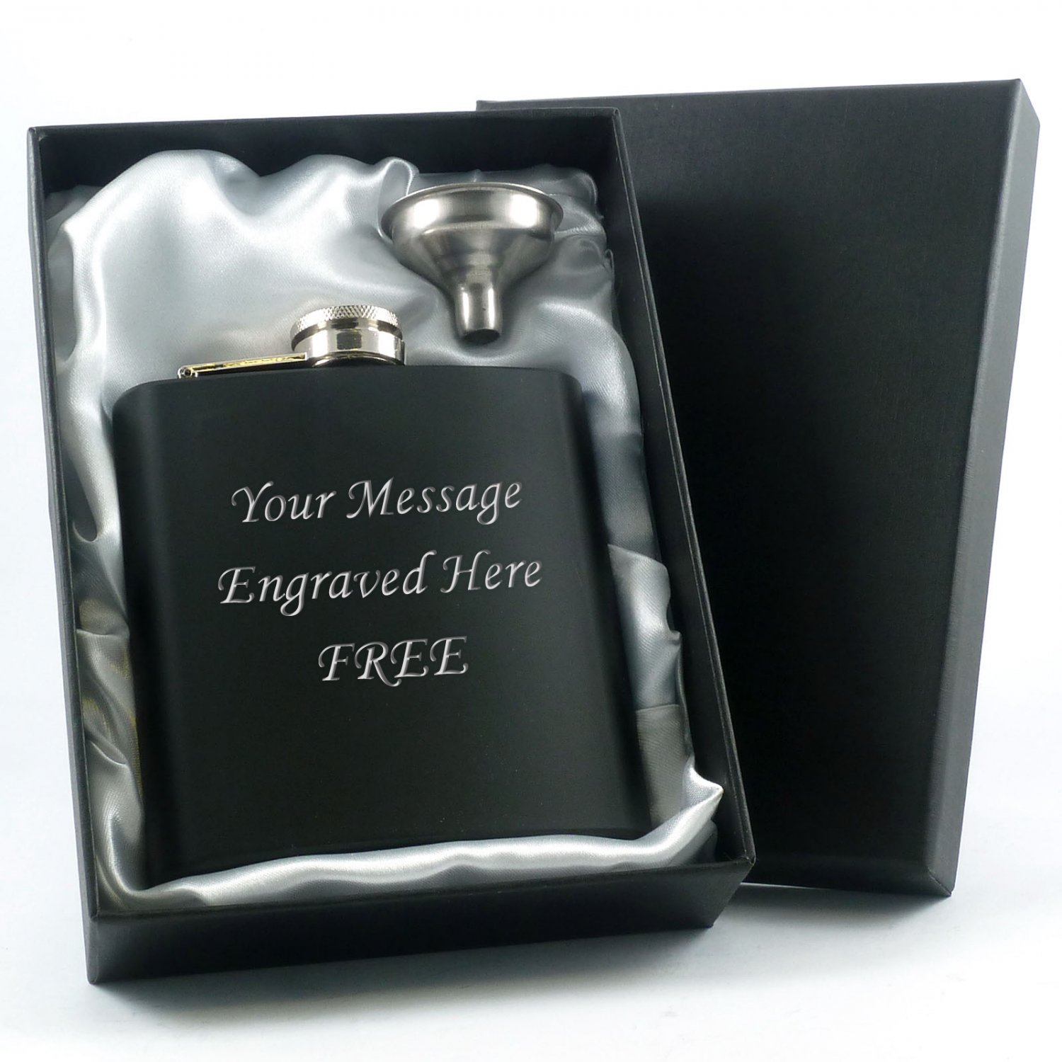 Black Hip Flask with Funnel and Satin Lined Gift Box