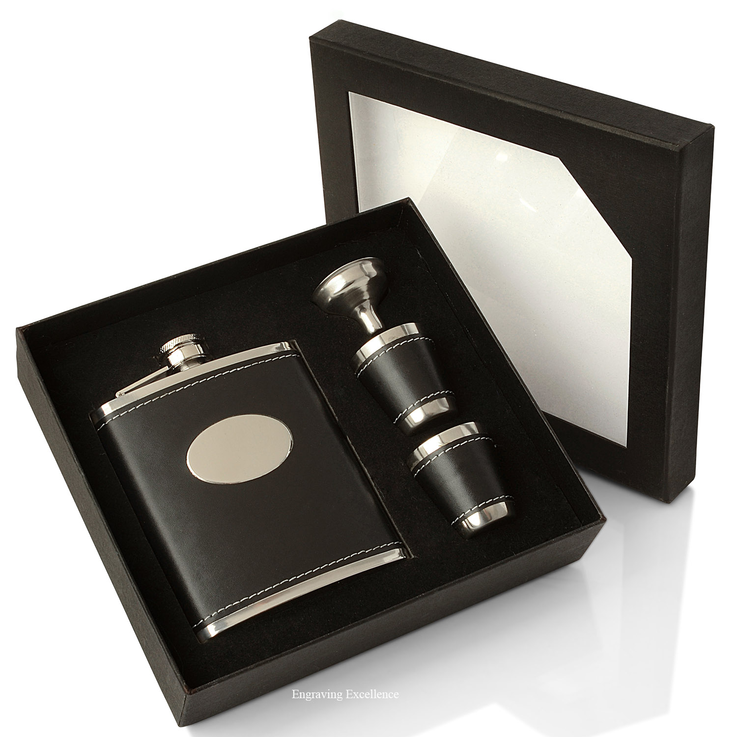 Black Oval Flask Gift Set