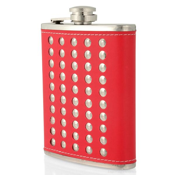 Red Studded Hip Flask