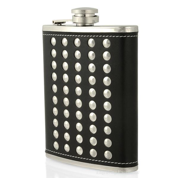 Black Studded Hip Flask