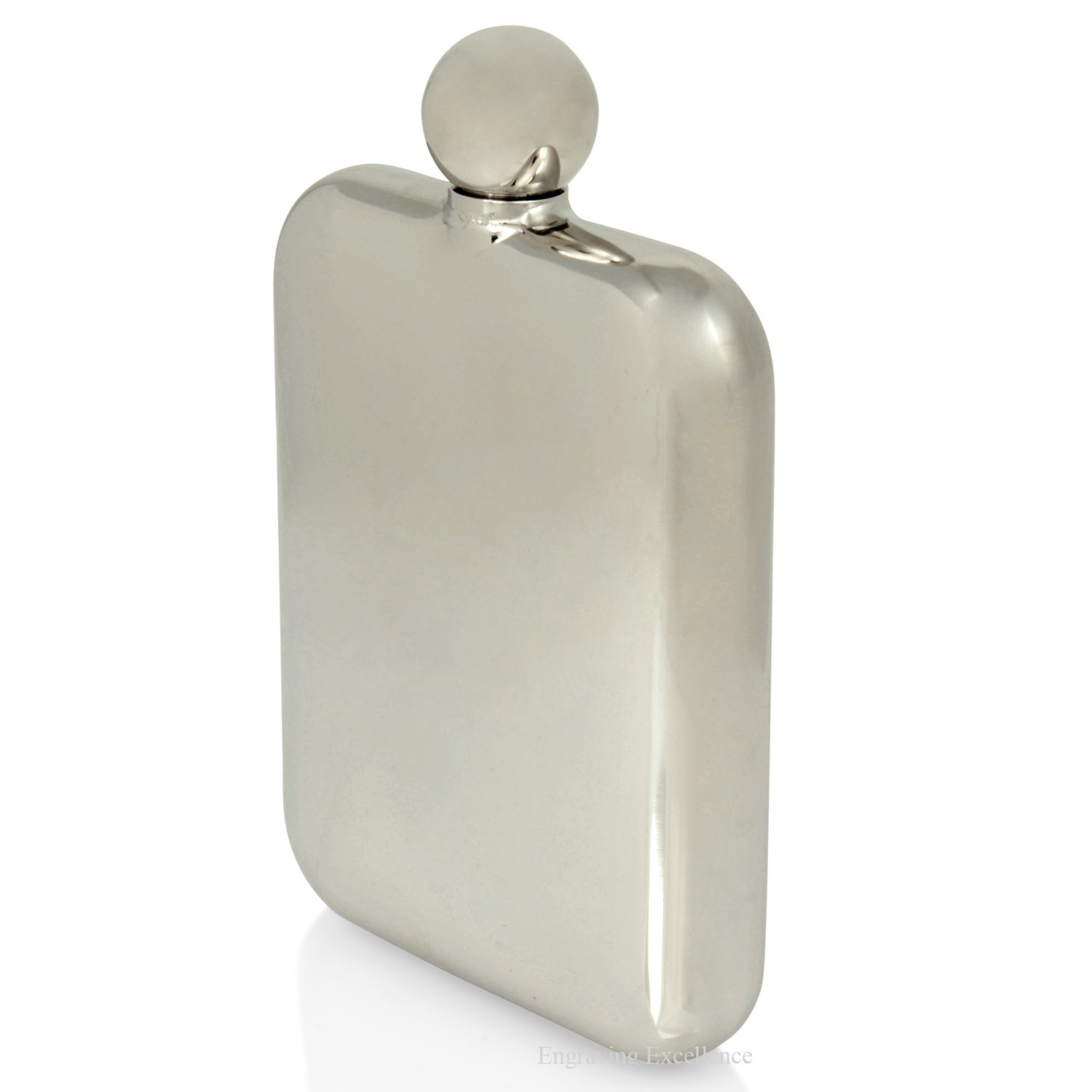 Round Top Polished Hip flask