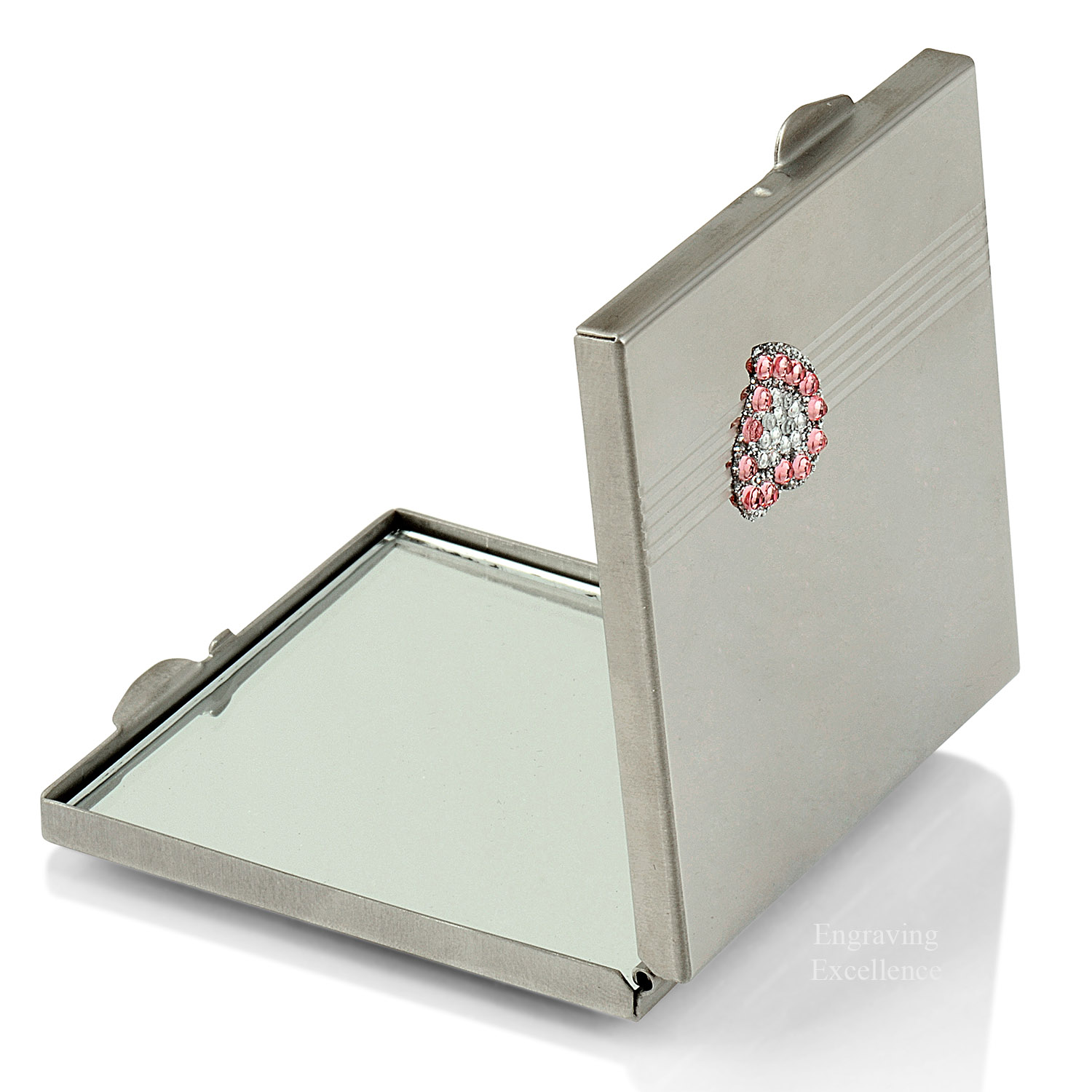 Heart Design, Jewelled Square Compact