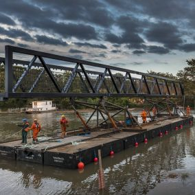 Watch our installation of the River Clyst Cycle Bridge