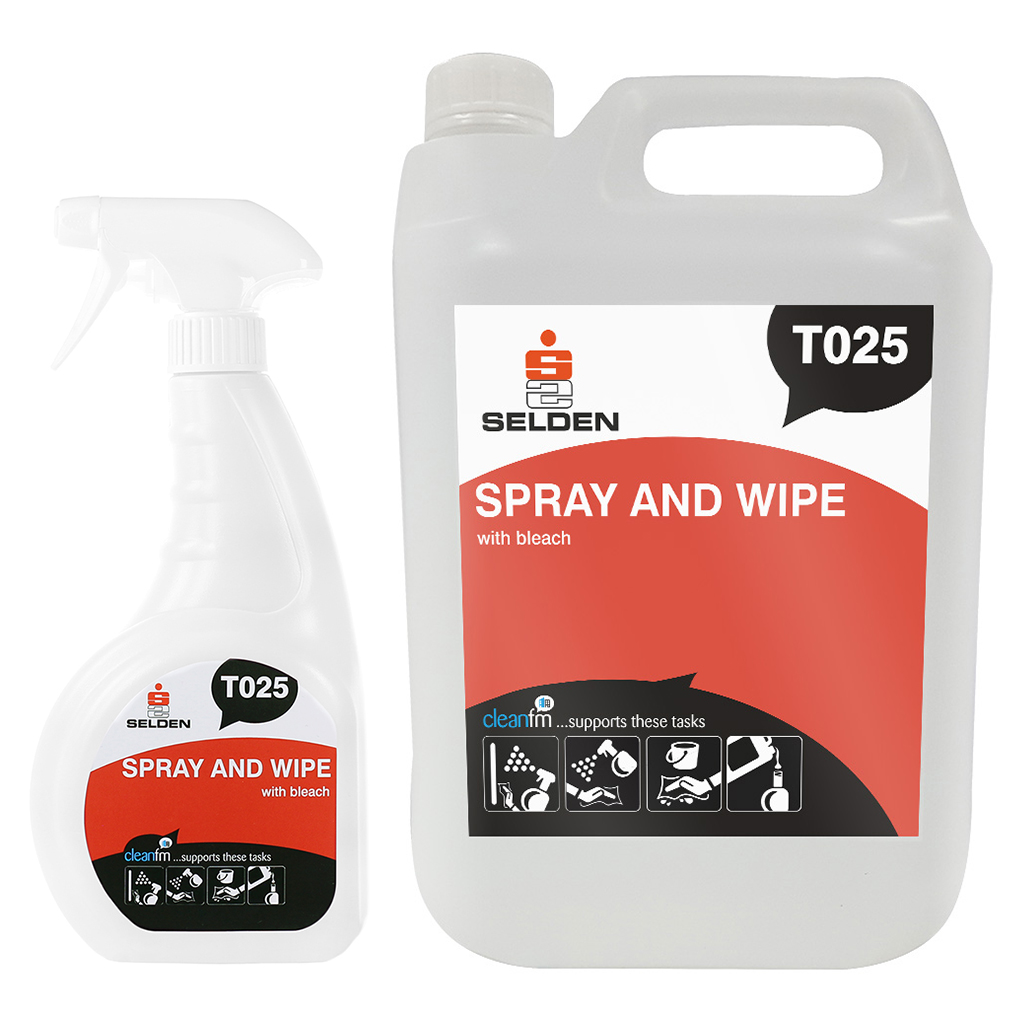 Selden | Spray & Wipe with Bleach | Bactericidal Cleaner | T025