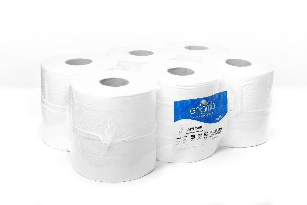 Enigma | Mini Jumbo Toilet Rolls | 2 Ply | White | 12 Rolls