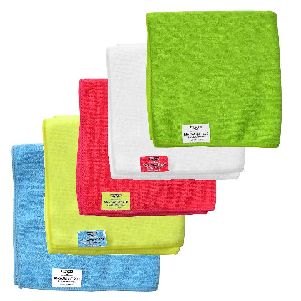 Unger | SmartColor MicroWipe 200 | Microfibre Cloths | 40 x 40cm | Pack of 10