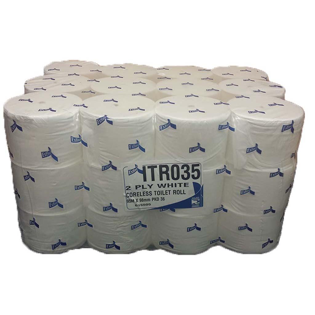 Esfina | Coreless System Toilet Rolls | 2 Ply | White | 36 Rolls | ITR035