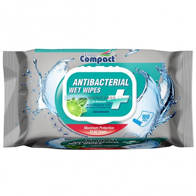 Ultra Compact Anti-Bacterial Wipes | 16cm x 19cm | Pack of 100 | WIP02
