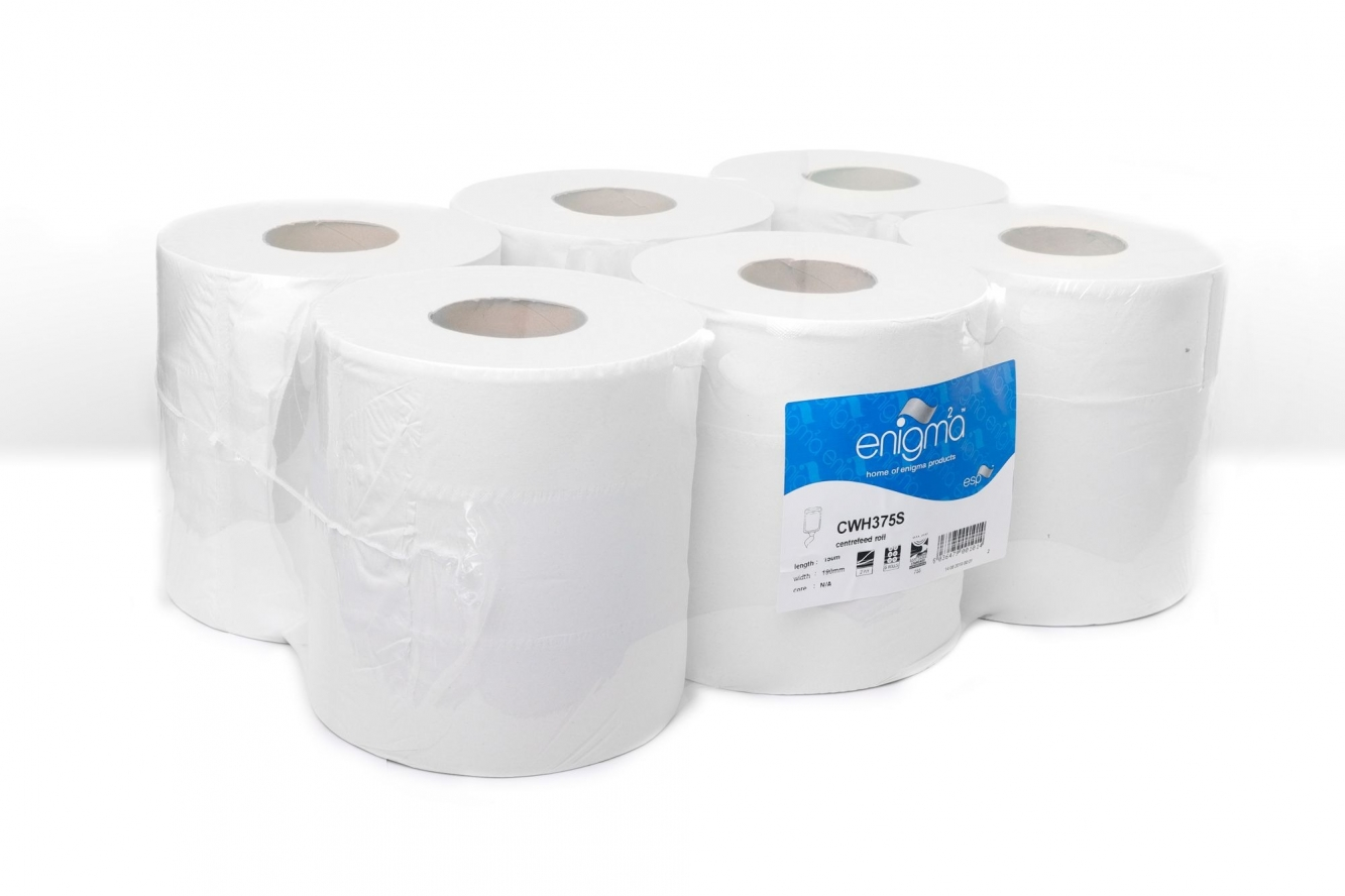 Pallet Deal - Enigma   Centrefeed Roll   2 Ply   White   6 Rolls   CWH375S   77 Packs