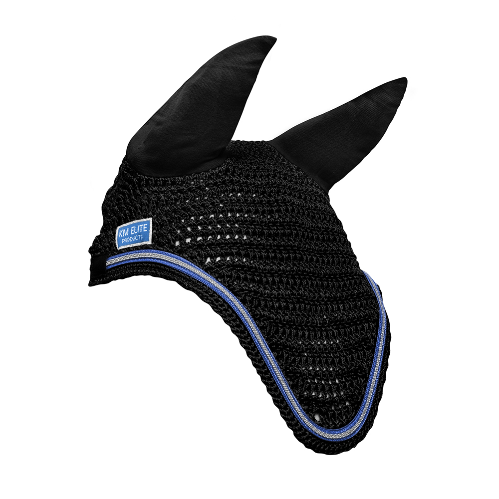 KM Elite Fly Veil Black/Electric Blue Trim