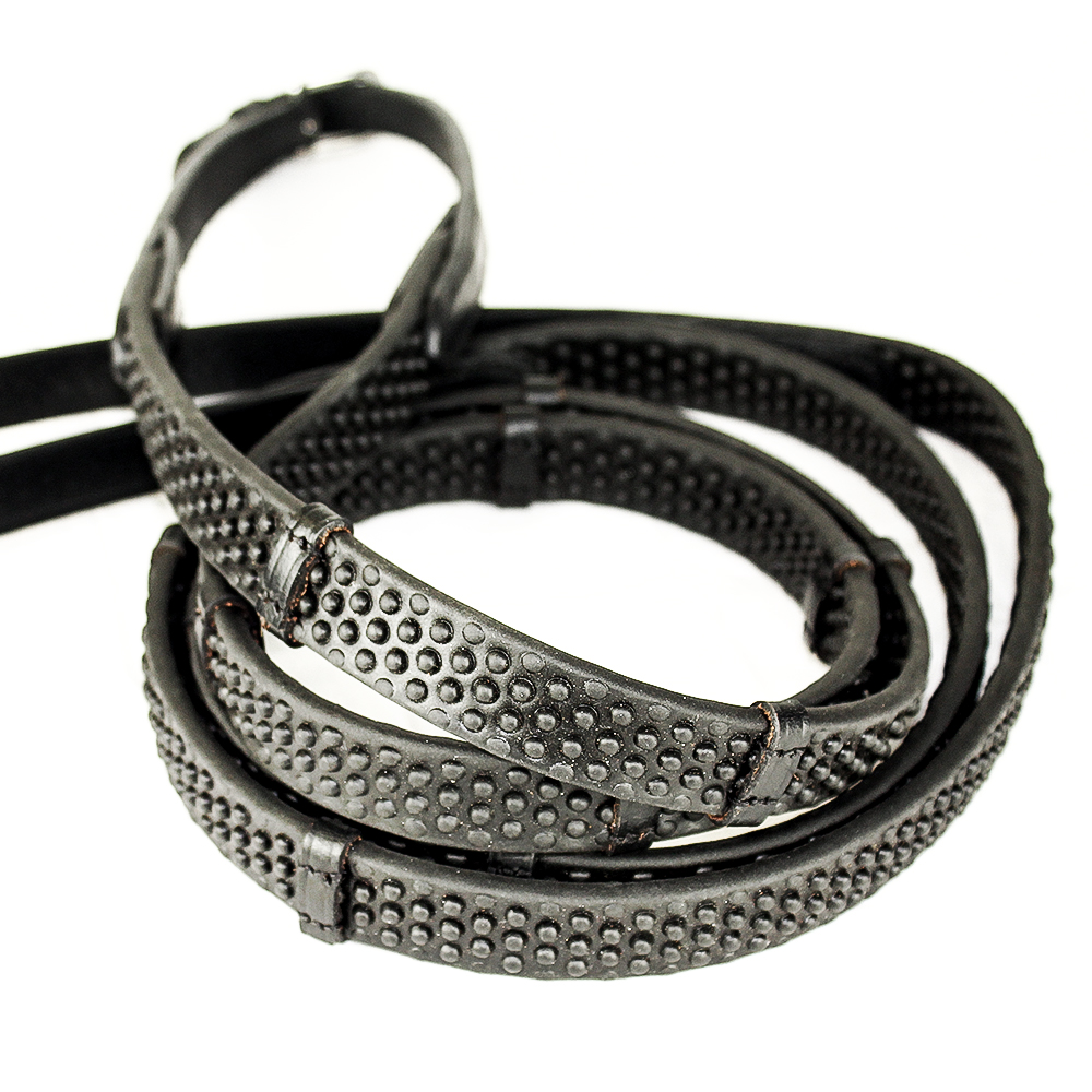 Pro Grip Eventer Reins Black With Stoppers