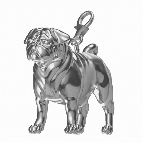 Pug Charm Sterling Silver Fits Pandora Bracelet
