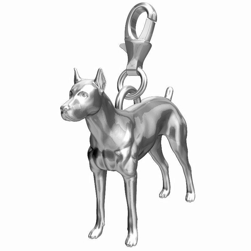 Doberman Charm - Docked Tail/Docked Ears