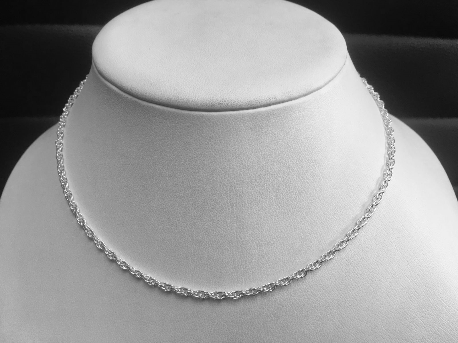 "Sterling Silver 16"" Solid Rope Chain"