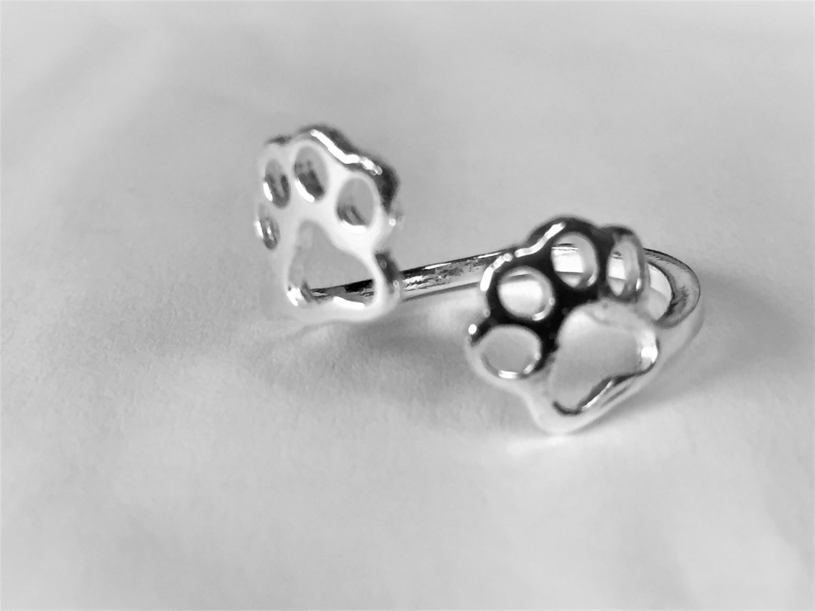 Sterling Silver Walking Paw Print  Ring