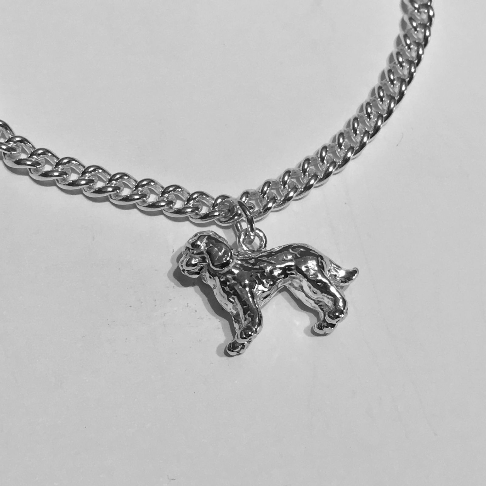 Curb Chain Silver Bracelet with Cockapoo charm
