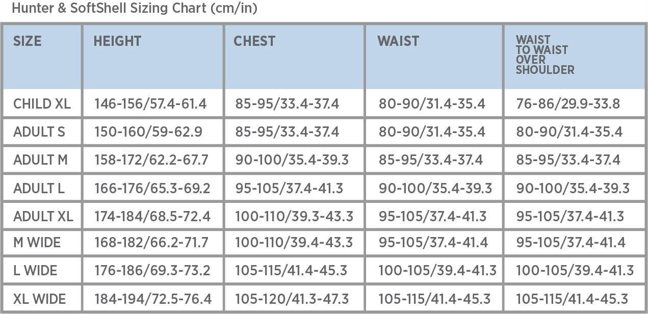 Point 2 Air Jacket Sizing Guide