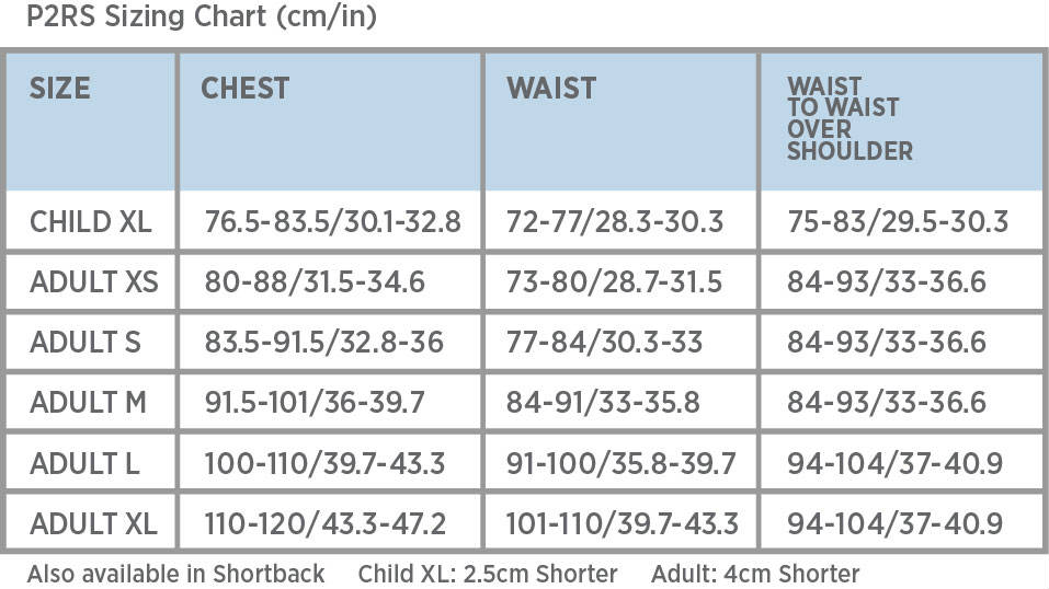Point 2 Air Jacket Sizing Guide P2RS